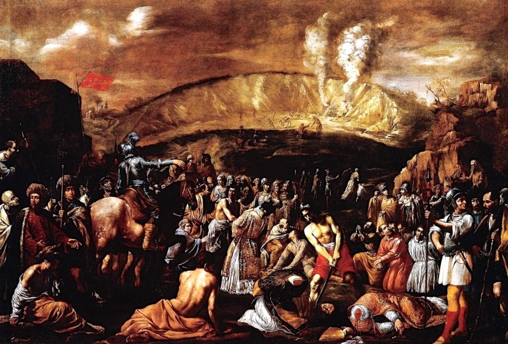 Aniello Falcone (1600-56): Den hellige Januarius' og andres martyrium i Solfatara (1630)