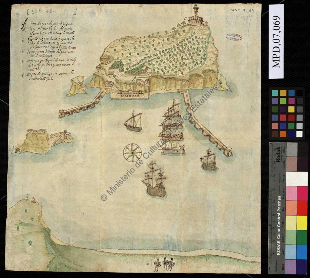 Barrtolomeo Picchiatti, Progetto per il nuovo porto di Nisida, 1635. Simancas, Archivo General