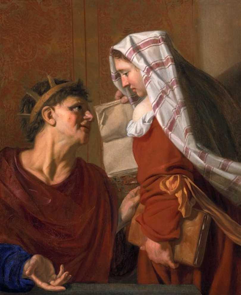 Tarquinio e la Sibilla Cumana, dipinto di Nicolaes van Helt Stockade (1614–1669)