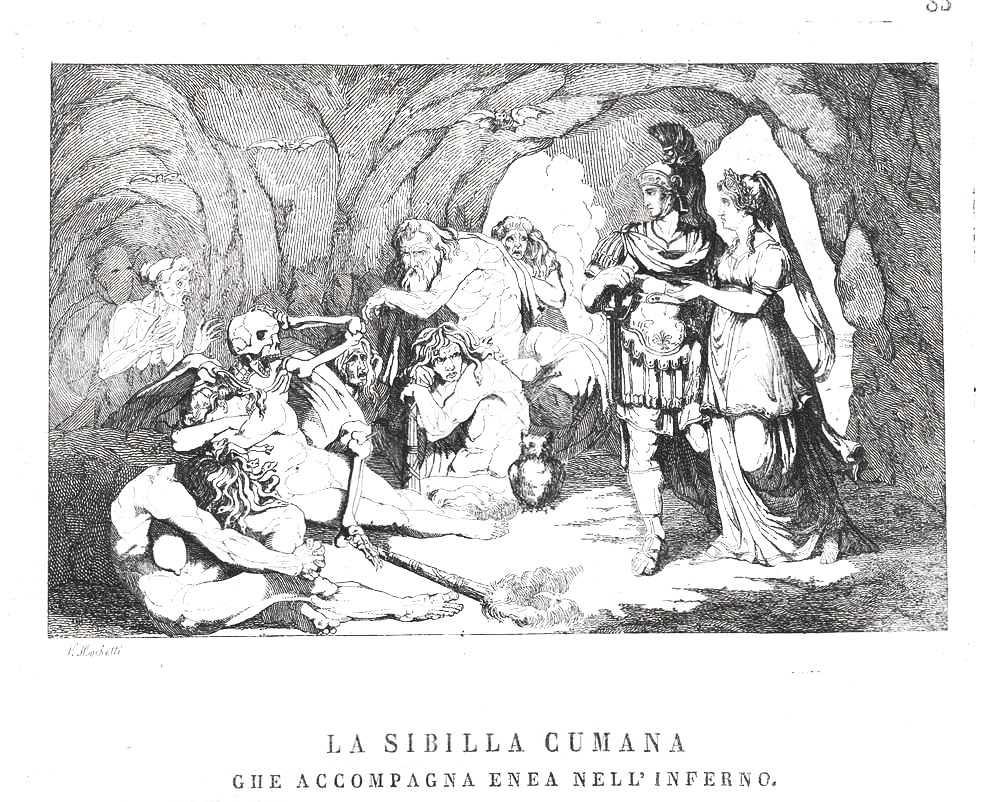 """La Sibilla Cumana che accompagna Enea nell'Inferno. Incisione in rame; da """"Omnibus Pittoresco"""", Napoli, 1839"""
